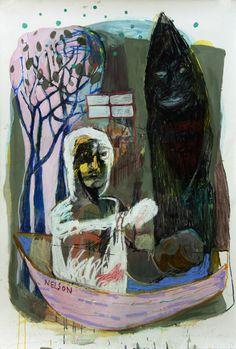 death of a gypsy (oil acrylic crayon on paper 110x75cm)