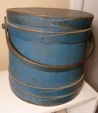 ANTIQUE  FIRKIN SUGAR BUCKET IN WONDERFUL EARLY ORIGINAL BLUE  PAINT Sold $617.00