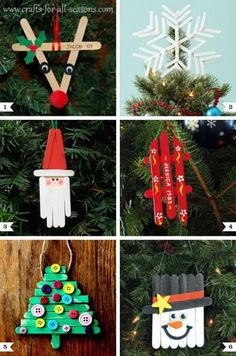 Re-use those popsicle sticks and make various Christmas tree ornaments out of them. Fun to do with the children! #DIY #Christmas #craft