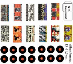 Miniature printable records with sleeves, for doll houses and such. Beatles, Hendrix, Springstein, Tom Waits