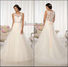 Newest designer soft lace wedding dress illusion neckline US $259.88  My favorite one so far