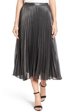 Crisply pleated Lurex® glints like liquid charcoal, adding dark, glimmering shine to each step you take in this trend-right midi skirt.