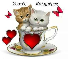 Cute Good Morning Quotes, Good Morning Coffee, Kitten Cartoon, Kitten Images, Beautiful Pink Roses, Animation, Day Wishes, Animals Images, Big Eyes