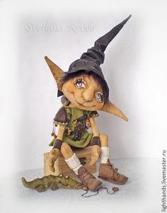 Купить Домашний эльфик Эрик. Коллекционная кукла - оливковый, кукла ручной работы, кукла в подарок
