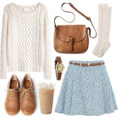 Estilo bem mulherzinha: saia fofa estampada + par de Oxfords + blusa de lã. O melhor: look para ficar quentinha no inverno.