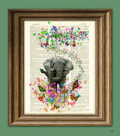 Elephant and Butterflies fantasy art print 'The Butterfly Navigator' illustration beautifully upcycled dictionary page book