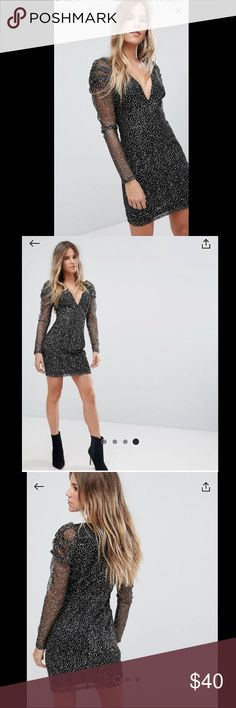 ASOS Boo Hoo Mesh and Sparkle plunge dress Dress by boohoo Partially-lined sparkle-finish mesh Plunge neck Sheer long sleeves Ruched shoulders Close-cut bodycon fit Worn once for two hours. Fits like a 4 size 6 UK ASOS Dresses Mini