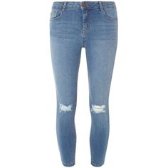 Dorothy Perkins Midwash Rip Darcy Ankle Jeans ($44) ❤ liked on Polyvore featuring jeans, blue, torn jeans, destroyed skinny jeans, destruction jeans, destructed jeans and torn skinny jeans