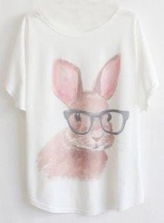 White Short Sleeve Glasses Rabbit Print T-Shirt - Sheinside.com Polo Manga Larga, T Shirt Picture, Graphic Tee Shirts, Printed Shirts, Shirt Blouses, Le Jolie, Batwing Sleeve, Dresser, T Shirts For Women