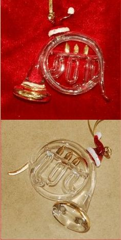 French Horn with Gold - Family Christmas Ornament
