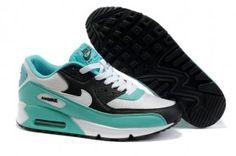 d5c2720a1cdfc3 Nike Bl0s Air Max 90 Damen Laufschuhe Cyan Weiß Schwarz Cheap Sneakers