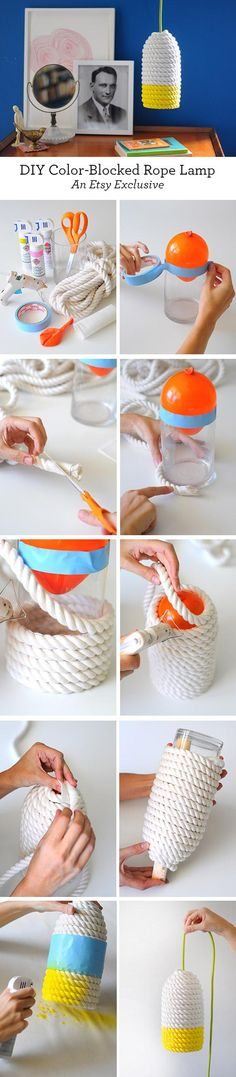 DIY Une lampe de corde. (https://blog.etsy.com/en/2015/craft-a-colorful-rope-lampshade/?utm_campaign=Merch&utm_medium=Internal&utm_source=Pinterest)