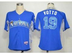 124807c40 MLB Reds  19 Joey Votto Blue 2012 All-Star BP Stitched Jersey