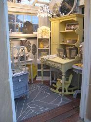 Yellow and gray shabby chic furniture