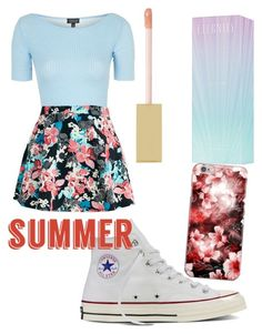 """""""#floralskirts"""" by ryepetal ❤ liked on Polyvore featuring Topshop, Converse, Calvin Klein, AERIN and Floralskirts"""