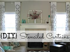 Cheap solution for tall curtains ... Beautifully stenciled IKEA curtains!