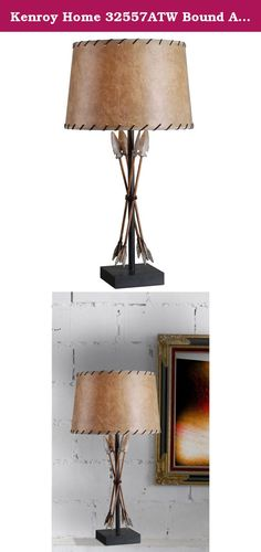Kenroy Home 32557ATW Bound Arrow Table Lamp, Antique Wash Finish. Bound Arrows is perfect for a Western or outdoorsy decor. Carved with thoughtful detail, the intricately placed arrows cross together around a center pole and are displayed on a pedestal base. A Faux Leather shade with Leather stitched trim gives added auto.