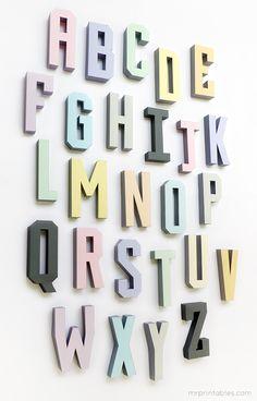 Letras en 3D para decorar.