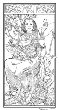 art nouveau earth coloring page