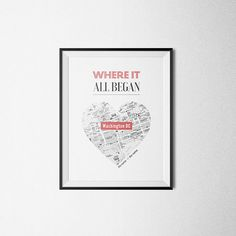 Where it all began. Husband Gift, Wife Gift, Unique Wedding Gift, for Couple, Anniversary Gift, Personalized Map, Custom City and Name.