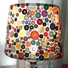 Button covered lamp shade