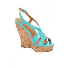 Patent Cork Wedges ($59) ❤ liked on Polyvore featuring shoes, sandals, mint green, summer sandals, slingback sandals, mint wedge sandals, strappy sandals and wedges shoes