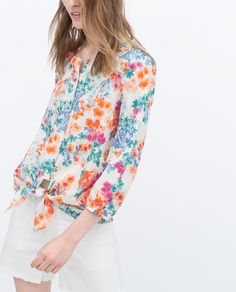 ZARA - WOMAN - PRINTED BLOUSE WITH KNOTTED WAIST