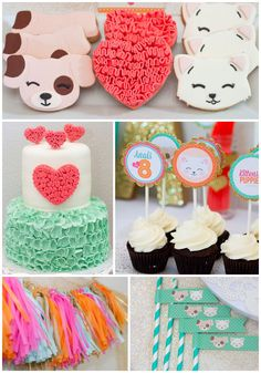 Color Inspiration: Kitten and Puppy Love themed birthday party via Kara's Party Ideas KarasPartyIdeas.com Cake, cupcakes, decor, printables, and more! #puppypa...