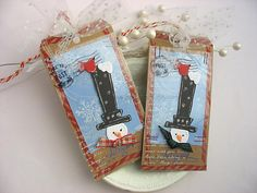 Shabby Chic Primitive Top Hat Snowman Rustic XL by pearliebird