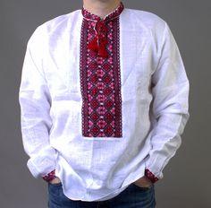 KUPALA DAY SALE VYSHYVANKA Mens Ukrainian Embroidery LINEN White Red S-XL   | eBay