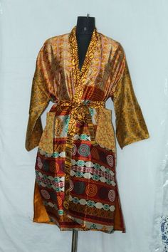 Indian Patchwork Maxi Jacket Dress Woman's Silk Sari Kimono Bathrobe Sk-1040 #Handmade #Kimono #AnyOccasionCasual