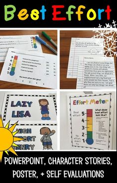 Just doing the work isn't enough – students need to put forth theirbest effortto master content, develop a strong work ethic, and get the grades their parents are expecting. This lesson plan (whole group or small group) teaches students what different levels of effort look like using an'effort meter'and example stories.