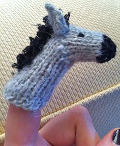 Free Knitting Pattern for Donkey Finger Puppet or Pencil Topper - This tiny donkey can easily be adapted to look like a horse or zebra. Rated easy by Ravelrers. Designed by Emma Folds