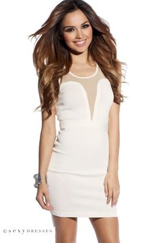 3e75f4a8d534e Shelby Off White Plunging Sweetheart Mesh Cut Out Knit Bandage Dress