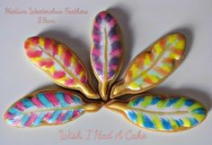 Medium Watercolour Feather Cookies by Wish I Had A Cake