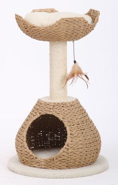 The PetPals Paper Rope Condo with Perch and Feather Teaser cat scratcher features a unique modern design with a sisal scratch post on top of a woven paper rope hideout, lined with a fle...