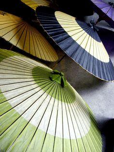 Paper Umbrellas - blue, green, tan