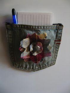 Magnetic pocket on fridge from jeans pocket