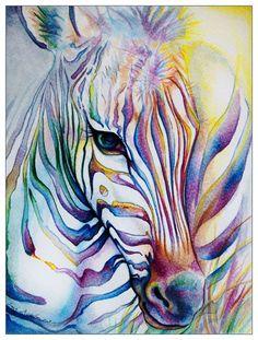 Rainbow Zebra by ladymeow (print image) Animal Paintings, Animal Drawings, Art Drawings, Zebra Drawing, Painting & Drawing, Watercolor Animals, Watercolor Paintings, Watercolors, Watercolor Lesson