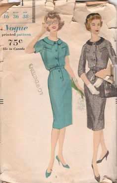 Vogue 9724; ©1959; One Piece Dress. Slim skirt with released inverted pleat joins the bodice at the waist-line. Buttoned front closing below...
