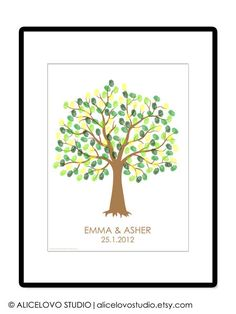 DIY Wedding Tree Guest Book - Wedding Registry - Personalized Guestbook - Thumbprint Signature Guestbook - Any Sizes - Printable PDF Poster. $18.00 USD, via Etsy.