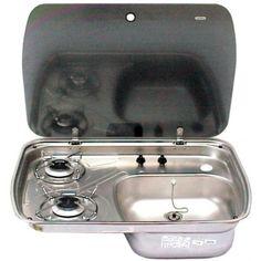 Cramer gaskoker met spoelbak en glasplaat voor inbouw - Zwerfcampers