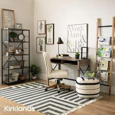 Home office ideas with a desk and chair. 📚 Tap the image to shop work from home desk setups. ✨ Home Desk, Home Office Furniture, Desk Setup, Desk Chair, Bench With Storage, Office Desk, Shelves, Room, Space
