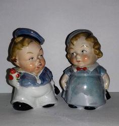1930s German Art Deco Lustre Chubby Children Salt Pepper Cruet Condiment Set Condiment Sets, Pineapple Upside, Salt And Pepper Set, Cereal Recipes, Mini S, Vintage Dishes, Salt Pepper Shakers, Tea Pots, Whimsical