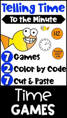 Help them practice telling time to the minute in a variety of ways. This packet includes printble color board games, Color by Code activities and also Cut and Paste worksheets. There are activities for digital, analog times, elaspded time, a.m. and p.m. and also time in words. Loads of great practice for telling time to the nearest one minute. Use in the classroom or send home for home learning. These are perfect for third grade and also suitable for those in second grade and fourth grade.