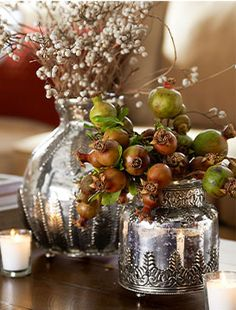 Add little unexpected touches around the house. Mercury glass makes small vignettes feel elevated.