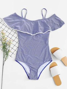 Shop Striped Flounce One Piece Swimsuit online. SHEIN offers Striped Flounce One Piece Swimsuit & more to fit your fashionable needs. Swimsuits For Tweens, Bathing Suits For Teens, Cheap Swimsuits, Cute Bathing Suits, Women Swimsuits, One Piece Swimsuit Slimming, One Piece Swimsuit Trendy, Mini Boden, Off The Shoulder Swimsuit