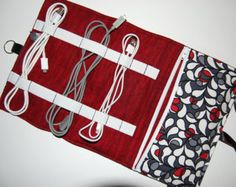 Cord Organizer, Cord Caddy, Cord Pouch, Cable Organizer, Cable Bag, Cord Holder, Travel Bag, Cord Carrier, Phone Charger Bag, Red, Black