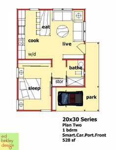 20x30 Modern 1 bedroom with Smart Car carport  528 square feet. Perfect, even has storage and done right with a vaulted ceiling and windows would feel very spacious.