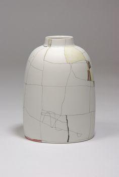 phillipfinderceramics: Tania Rolland - summer invention (geranium and olive) 2014ceramic pencil and stains on porcelain21 x 16 x 16 cm